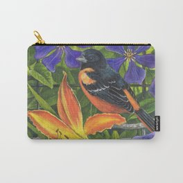 Northern Oriole and Day Lily Carry-All Pouch