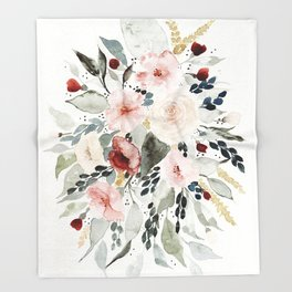 Loose Watercolor Bouquet Throw Blanket
