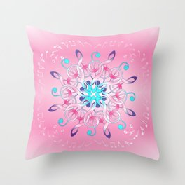 Music Notes In Pink Throw Pillow