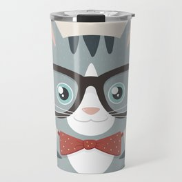 Grey Tabby Hipster Cat Travel Mug