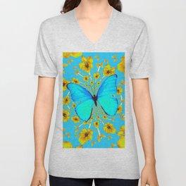 BLUE BUTTERFLY YELLOW AMARYLLIS PATTERNED ART Unisex V-Neck