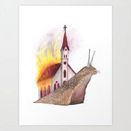 Burning church Art Print