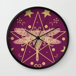 Cosmic Dragonfly Wall Clock