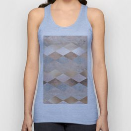 Copper and Blush Rose Gold Marble Argyle Unisex Tank Top