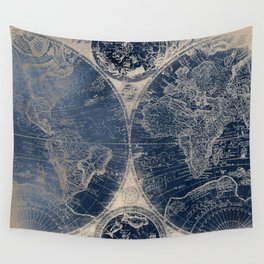 Old map wall tapestries society6 antique world map gold navy blue library wall tapestry gumiabroncs Choice Image