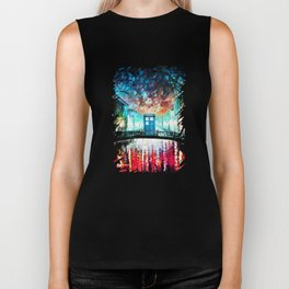 Tardis With Beautiful Starry Night Biker Tank