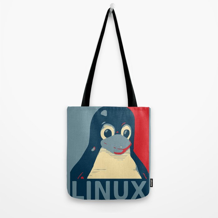 Linux tux Penguin poster head red blue  Tote Bag