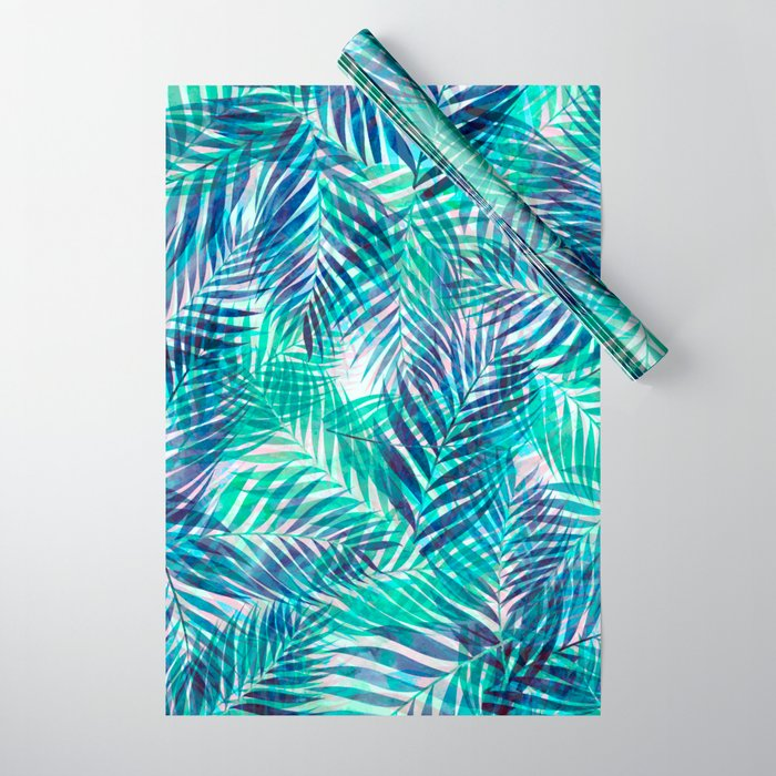 Palm Leaves - Indigo Green Wrapping Paper