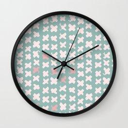 Contemporary X Paint Cross stich Mint Pink Pattern Wall Clock