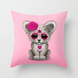 Pink Day of the Dead Sugar Skull White Lion Cub Throw Pillow