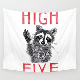 Raccoon High Five  Wall Tapestry