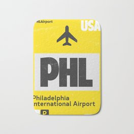 PHL Philadelphia airport code yellow Bath Mat