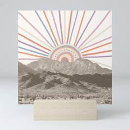 Summerlin Mountain // Abstract Vintage Mountains Summer Sun Vibe Drawing Happy Wall Hanging Mini Art Print