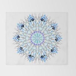 ice flake winter mandala Throw Blanket