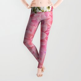 ORNATE PINK FLOWER COLLAGE WITH BLACK Leggings