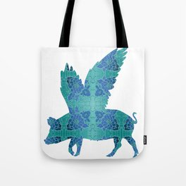 Vintage Blue Flying Pig Tote Bag