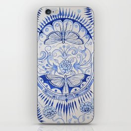 Blue Dragonfly & Rose iPhone Skin