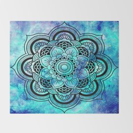 Galaxy Mandala Aqua Indigo Throw Blanket