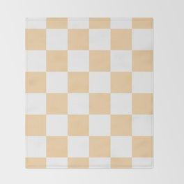 Large Checkered - White and Sunset Orange Throw Blanket