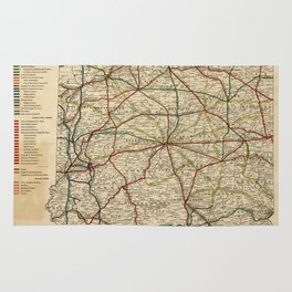 Vintage Map of The Indiana Railroad System (1896) Rug
