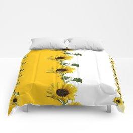 VERTICULAR YELLOW SUNFLOWERS WHITE ART Comforters
