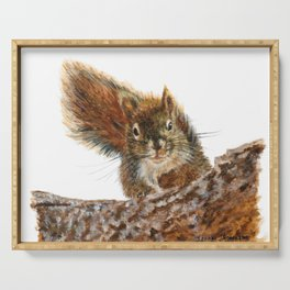 Cheeky the Red Squirrel by Teresa Thompson Serving Tray