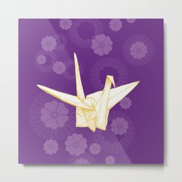 Paper Crane and Cherry Blossoms Metal Print