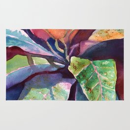 Colorful Tropical Leaves 3 Rug