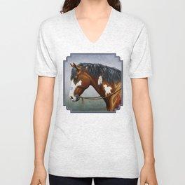 Bay Pinto Native American War Horse Unisex V-Neck