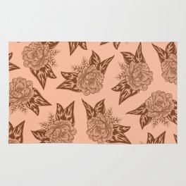 Cabbage Roses in Rust Rug