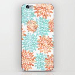 aqua and coral flowers iPhone Skin