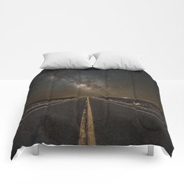 Go Beyond - Road Leads Into Milky Way Galaxy Comforters