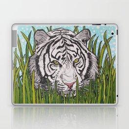 White tiger in wild grass Laptop & iPad Skin