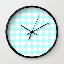 Diamonds - White and Celeste Cyan Wall Clock