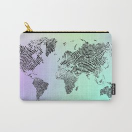 Fingerprinted World Map Carry-All Pouch