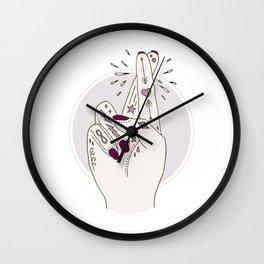 Fingers Crossed Wall Clock