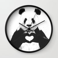 black Wall Clocks featuring All you need is love by Balazs Solti