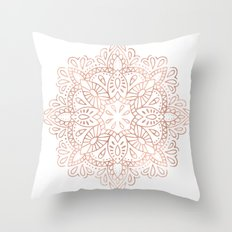 Mandala Rose Gold Pink Shimmer by Nature Magick Throw Pillow