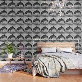 Jumping wild bottlenose dolphin black and white Wallpaper