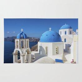 Santorini, Oia Village, Blue and White Church Rug