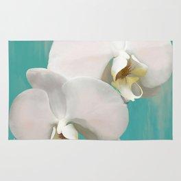 WHITE ORCHIDS - AQUA Rug