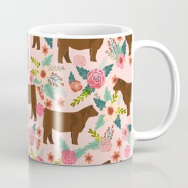 Red Angus cattle breed floral farm homestead gifts cow pattern Coffee Mug