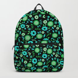 Mint and turquoise flowers on black Backpack