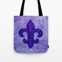 Purple Fleur de Lis Tote Bag