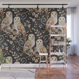 Wooden Wonderland Barn Owl Collage Wall Mural