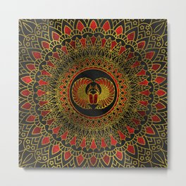 Egyptian Scarab Beetle - Gold and red  metallic Metal Print