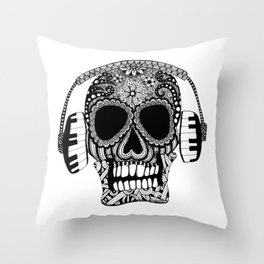 Tangled Skull with Headphones Throw Pillow