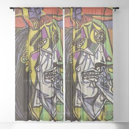 THE WEEPING WOMAN - PICASSO Sheer Curtain