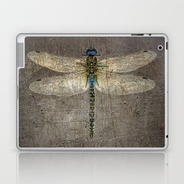 Dragonfly On Distressed Metallic Grey Background Laptop & iPad Skin