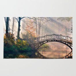 Bridge in the forest Rug